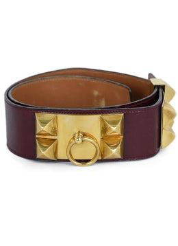 Hermes Red Burgundy Leather Gold Collier De Chien Belt 1
