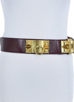 Hermes Red Burgundy Leather Gold Collier De Chien Belt 2