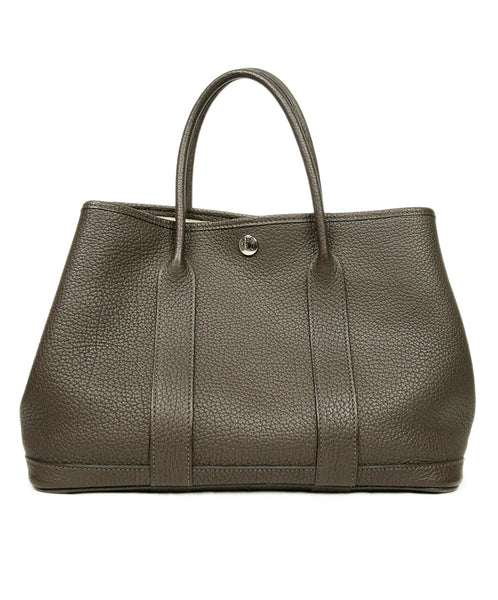 Hermes Garden Party 30cm Chocolate Leather Handbag 1