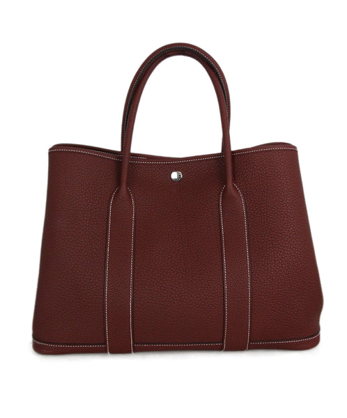 Hermes Garden Party 36 burgundy leather bag 1