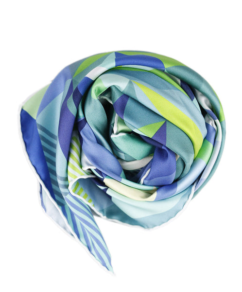 Hermes 'LES FACETIES DE PEGASA' Green Blue Yellow Print Silk Scarf