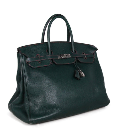 Hermes Green Leather 40cm Birkin Bag 1