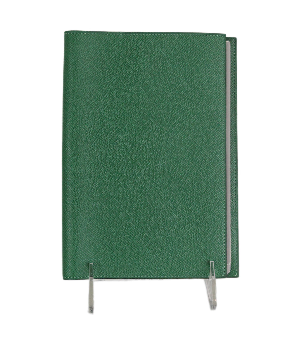 Hermes Green Leather notebook with pad 1