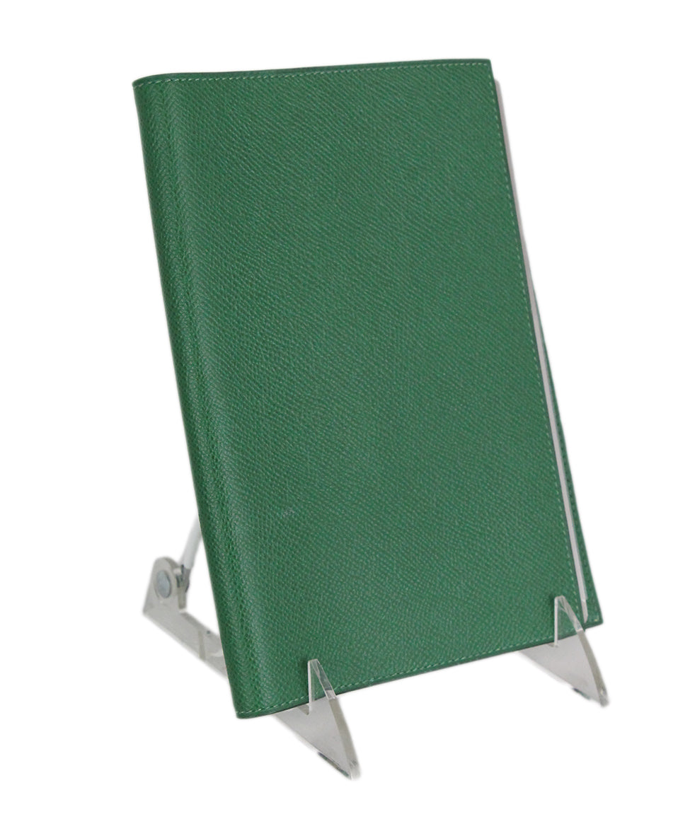 Hermes Green Leather notebook with pad 2