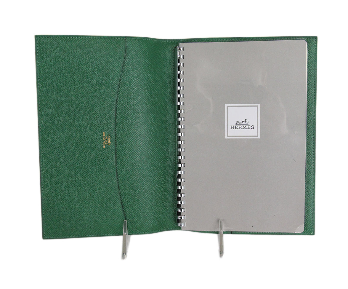 Hermes Green Leather notebook with pad 6
