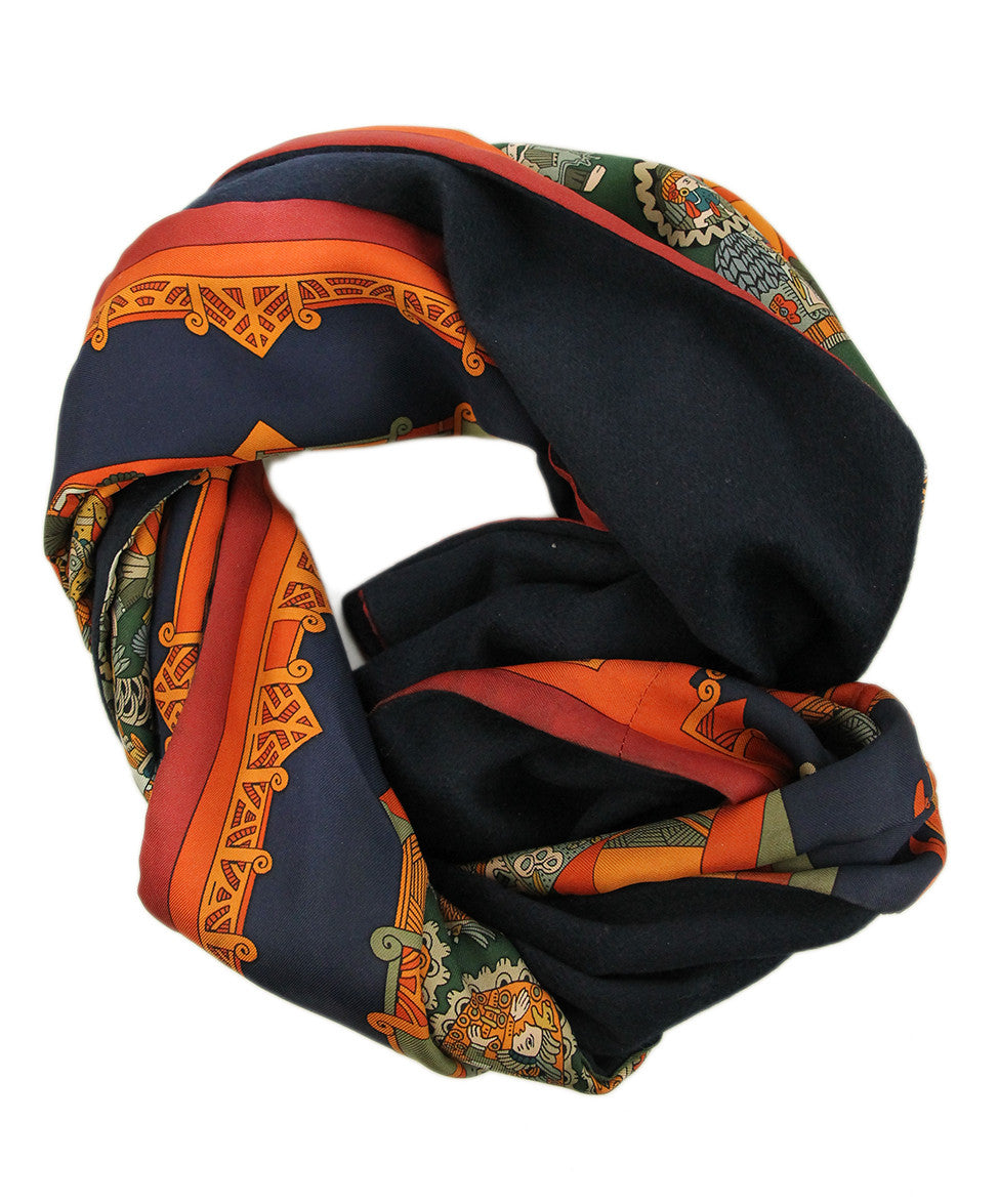 Hermes Green Orange Silk Navy Angora Scarf - Michael's Consignment NYC  - 1