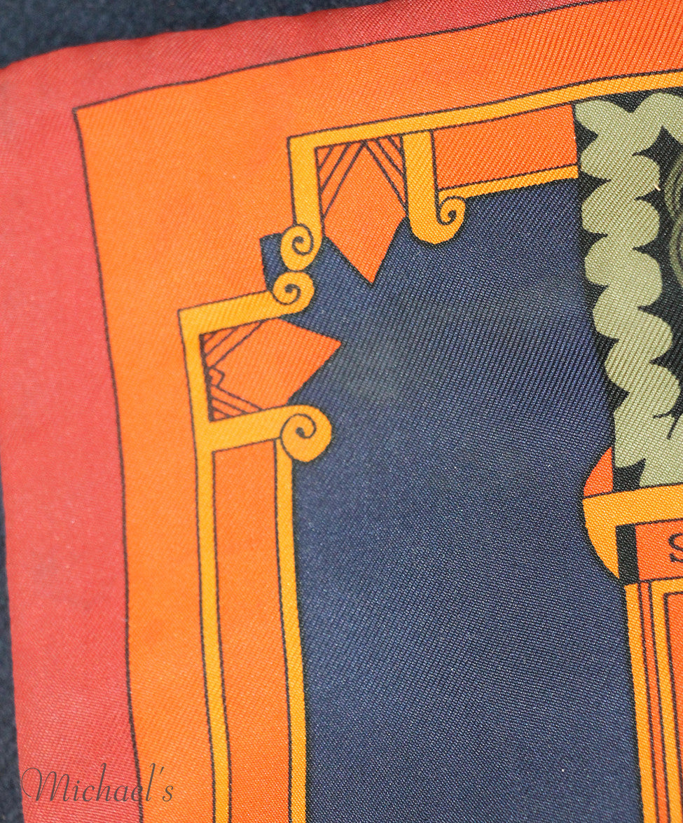 Hermes Green Orange Silk Navy Angora Scarf - Michael's Consignment NYC  - 6