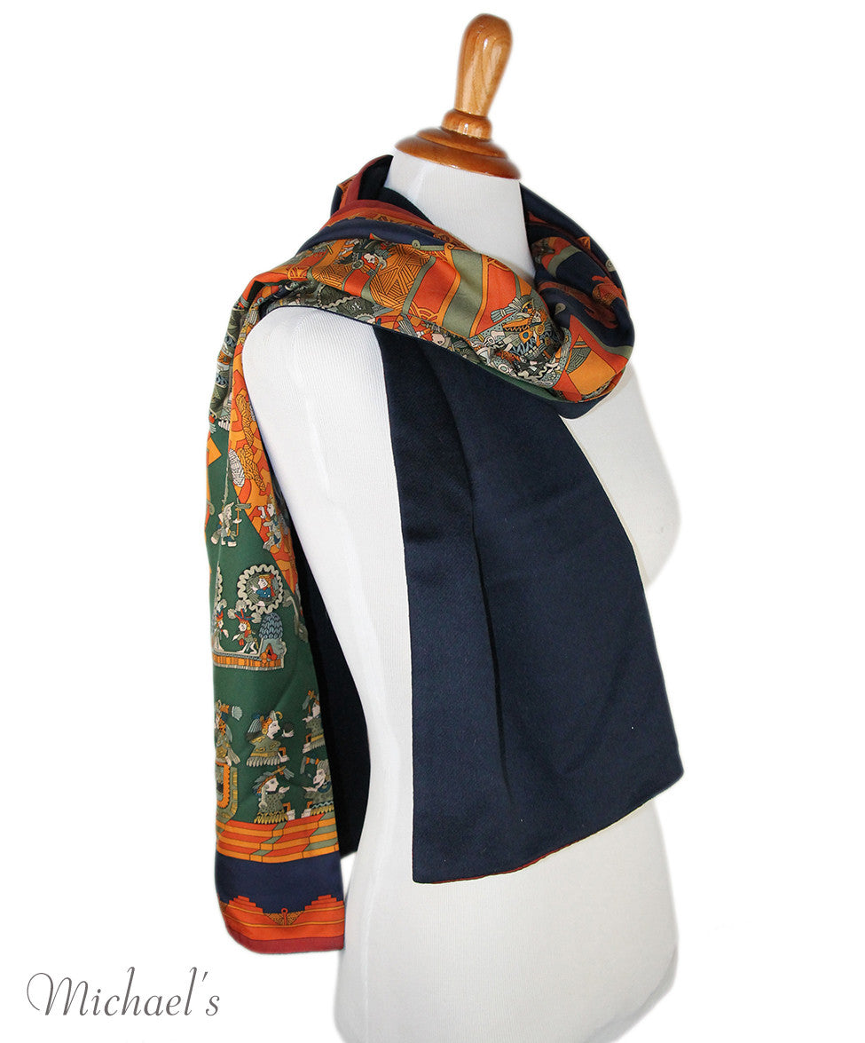 Hermes Green Orange Silk Navy Angora Scarf - Michael's Consignment NYC  - 10