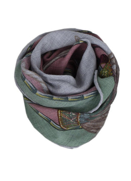 Hermes Green Pink Grey Cashmere Silk Scarf 2