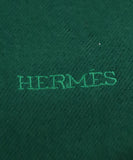 Hermes Green Forest Wool Fringe Scarf 3