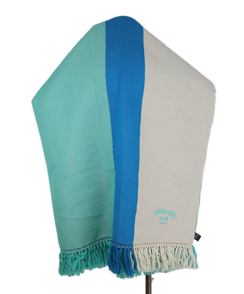 Hermes White Green Blue Color Block Pattern Cotton and Linen Blanket With Fringe Detail 1