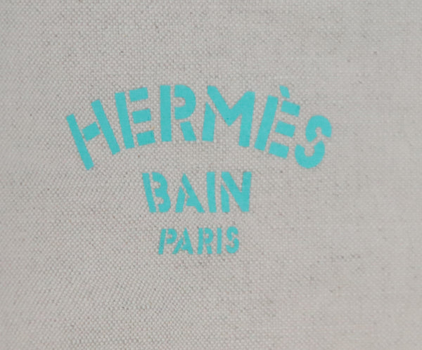 Hermes White Green Blue Color Block Pattern Cotton and Linen Blanket With Fringe Detail 4