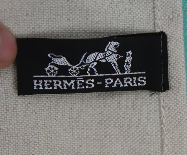 Hermes White Green Blue Color Block Pattern Cotton and Linen Blanket With Fringe Detail 2