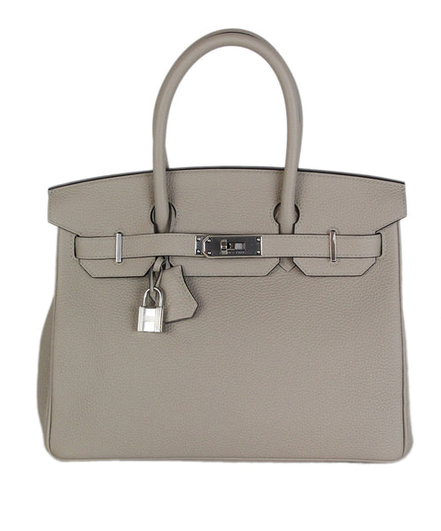 Hermes Grey Leather 30 cm Birkin togo gris tourterelle bag 1