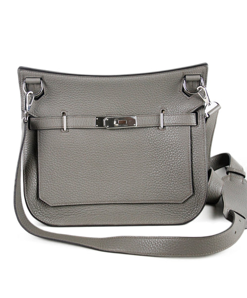 Hermes Grey Leather Jypsiere 28 Handbag