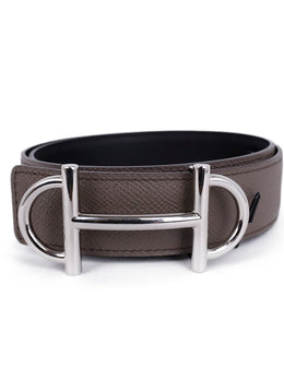 Hermes Grey Leather Silver Buckle Belt 2