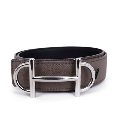 Hermes Grey Leather Silver Buckle Belt 1