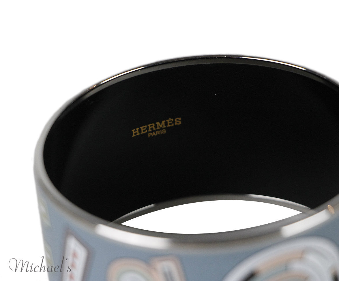 Hermes Bangle Grey Peach Silver Enamel