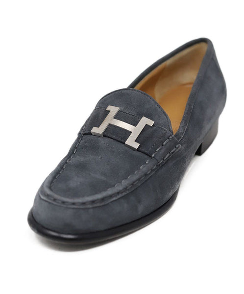 Hermes Grey Suede Loafer with Silver H Buckle 1