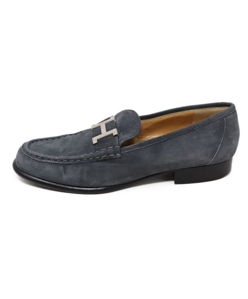 Hermes Grey Suede Loafer with Silver H Buckle 2
