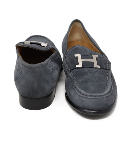 Hermes Grey Suede Loafer with Silver H Buckle 3