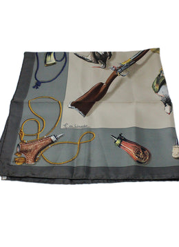 Hermes Grey Taupe Gold Scarf 1