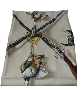 Hermes Grey Taupe Gold Scarf 2