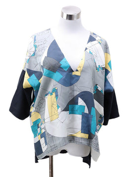 Hermes Grey Teal Silk Blouse