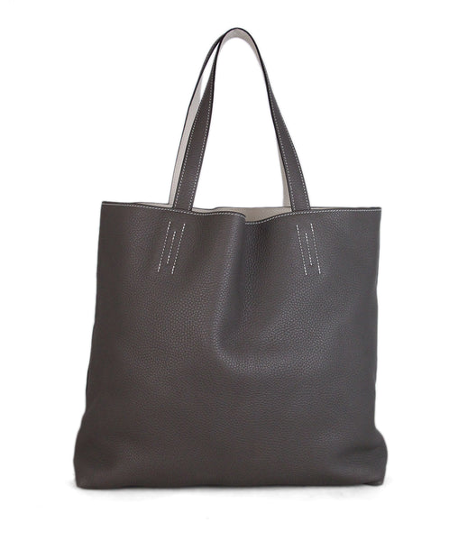 Hermes Grey White Leather Double Sens Tote 1