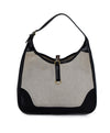 Hermes Black Beige Canvas Leather Vintage Trim Bag Handbag 1