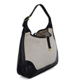 Hermes Black Beige Canvas Leather Vintage Trim Bag Handbag 2