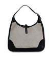 Hermes Black Beige Canvas Leather Vintage Trim Bag Handbag 3