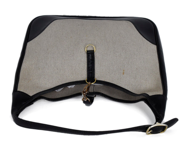 Hermes Black Beige Canvas Leather Vintage Trim Bag Handbag 5