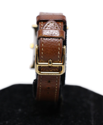 Hermes Heure H brown leather watch 1