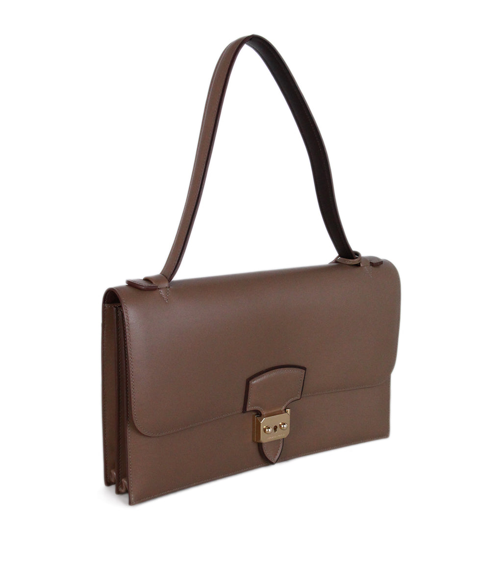 Hermes Illico Elan Bag Taupe Leather Satchel 2