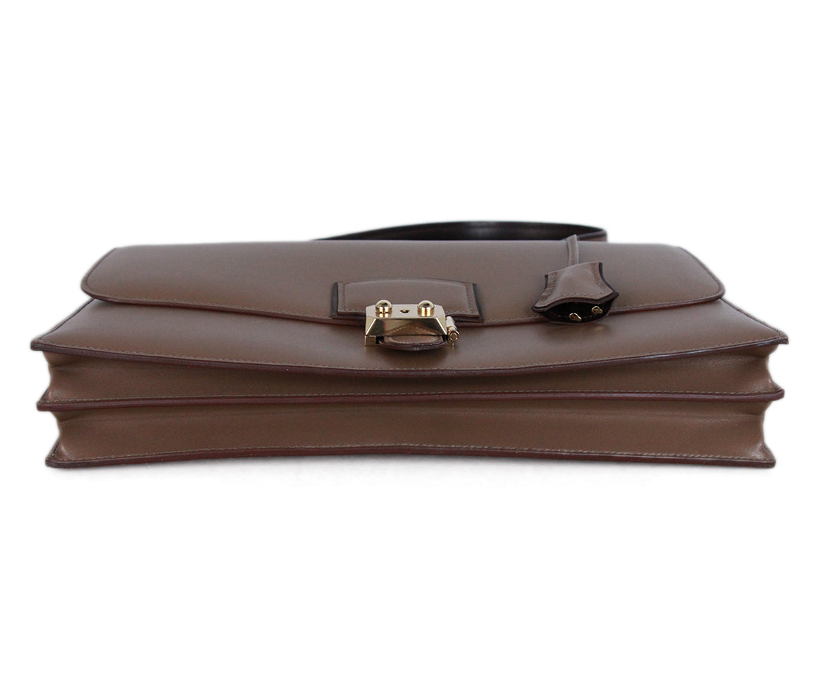 Hermes Illico Elan Bag Taupe Leather Satchel 4