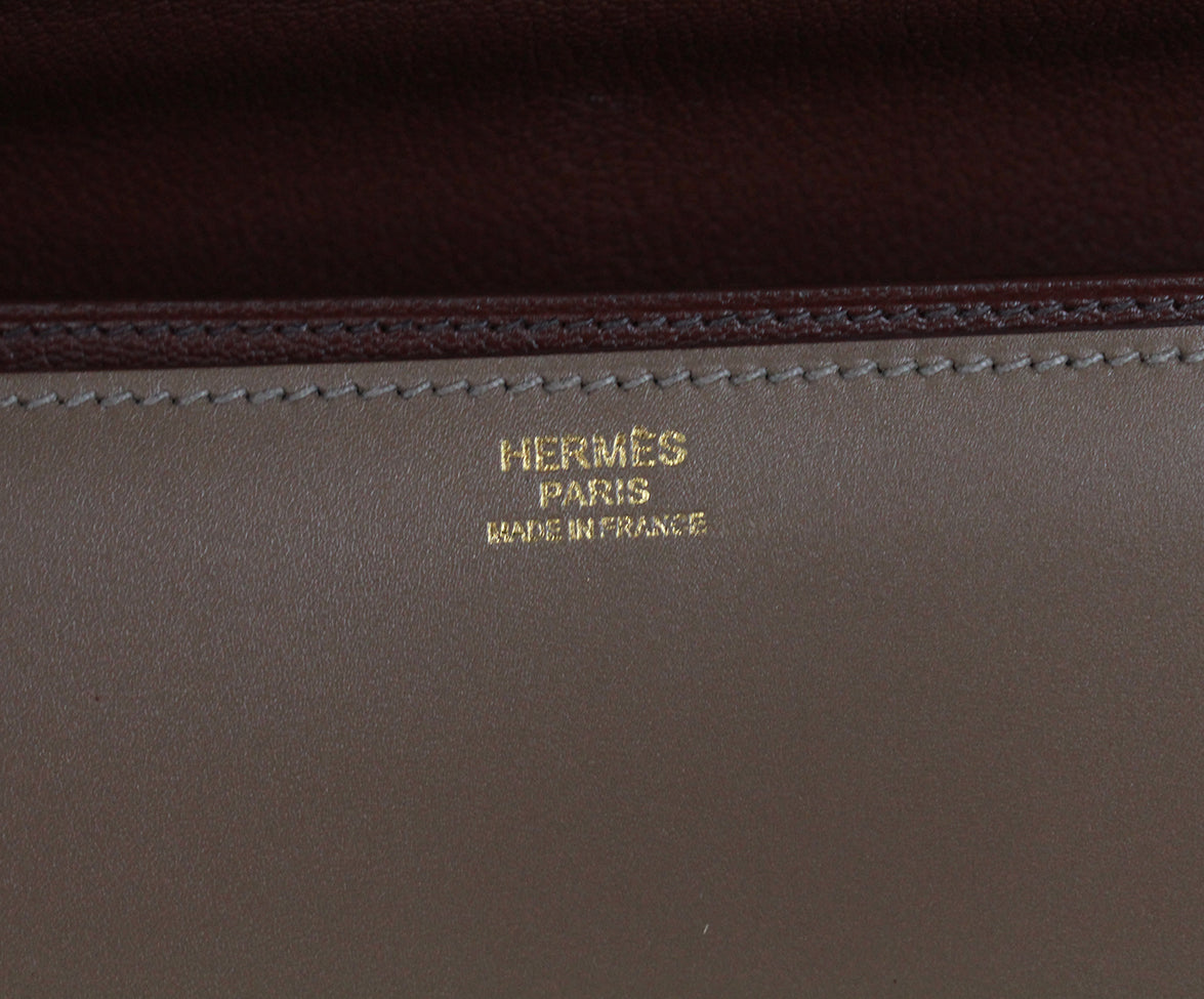 Hermes Illico Elan Bag Taupe Leather Satchel 6