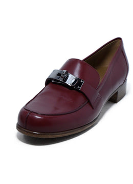 Hermes Red Burgundy Kelly Leather Loafers 1