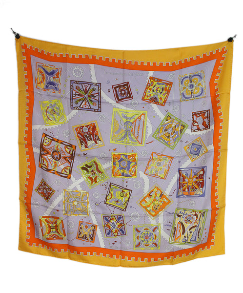Hermes La Mecanique Des Ideese orange lilac yellow scarf 3