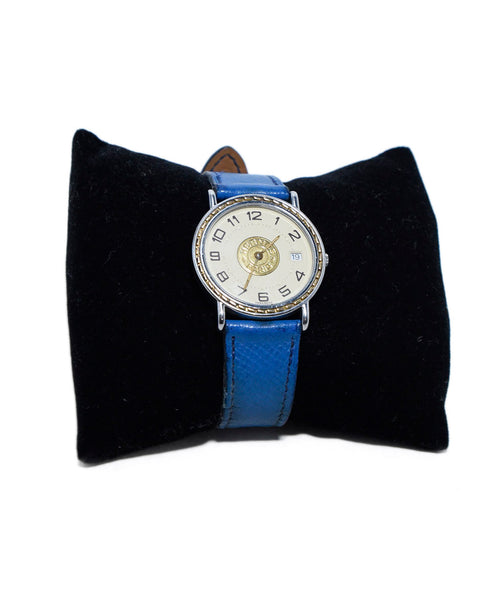 "Hermes Blue Leather Watch ""as is"" 