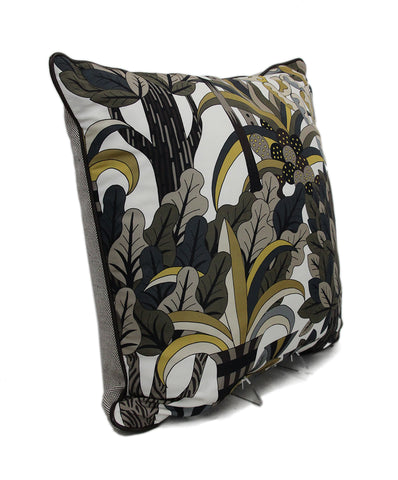 Hermes Leaves Print Silk Pillow 1