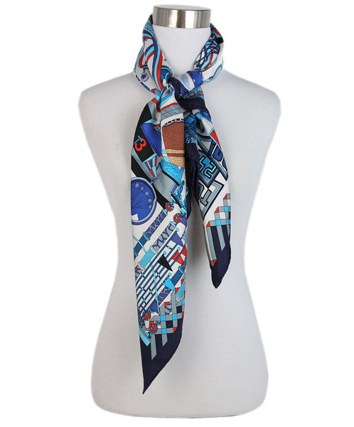 Hermes Les Trophees navy grey red print scarf 3