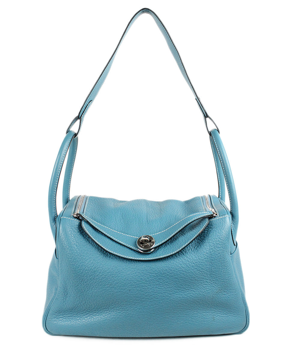 Hermes 30cm Light Blue Grained Leather Bag - Michael's Consignment NYC  - 1