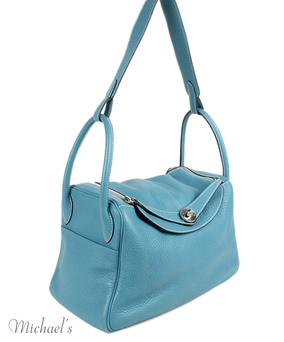 Hermes 30cm Light Blue Grained Leather Bag - Michael's Consignment NYC  - 2