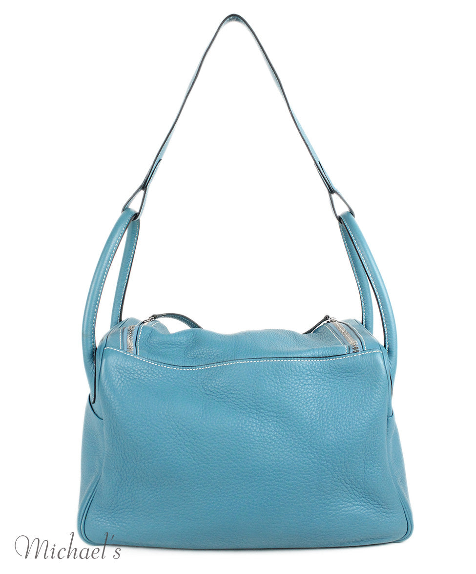 Hermes 30cm Light Blue Grained Leather Bag - Michael's Consignment NYC  - 3