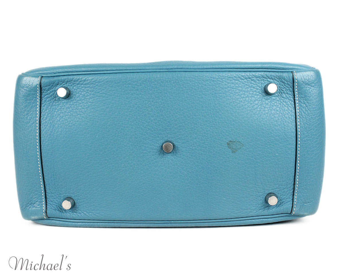 Hermes 30cm Light Blue Grained Leather Bag - Michael's Consignment NYC  - 4