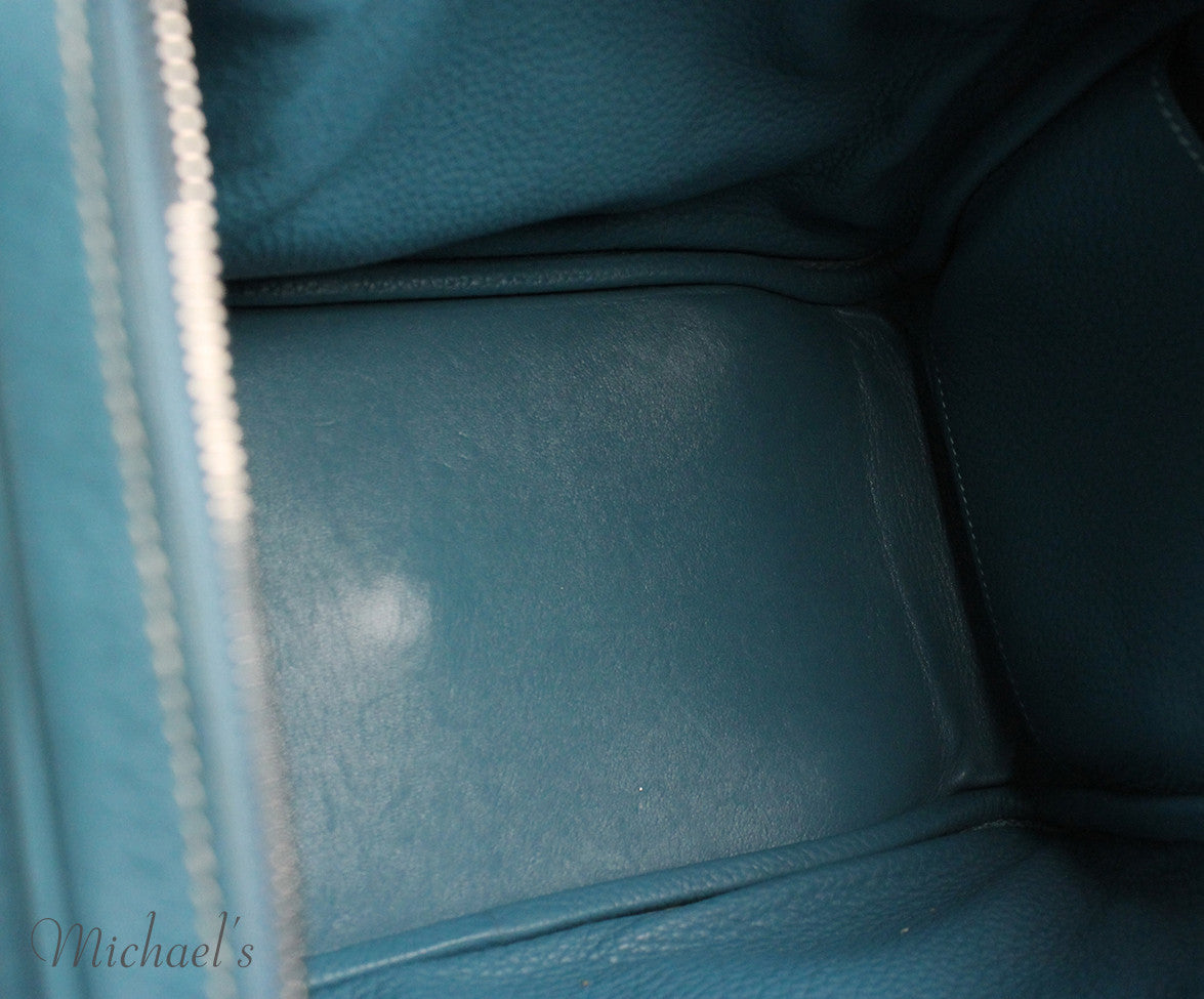 Hermes 30cm Light Blue Grained Leather Bag - Michael's Consignment NYC  - 5