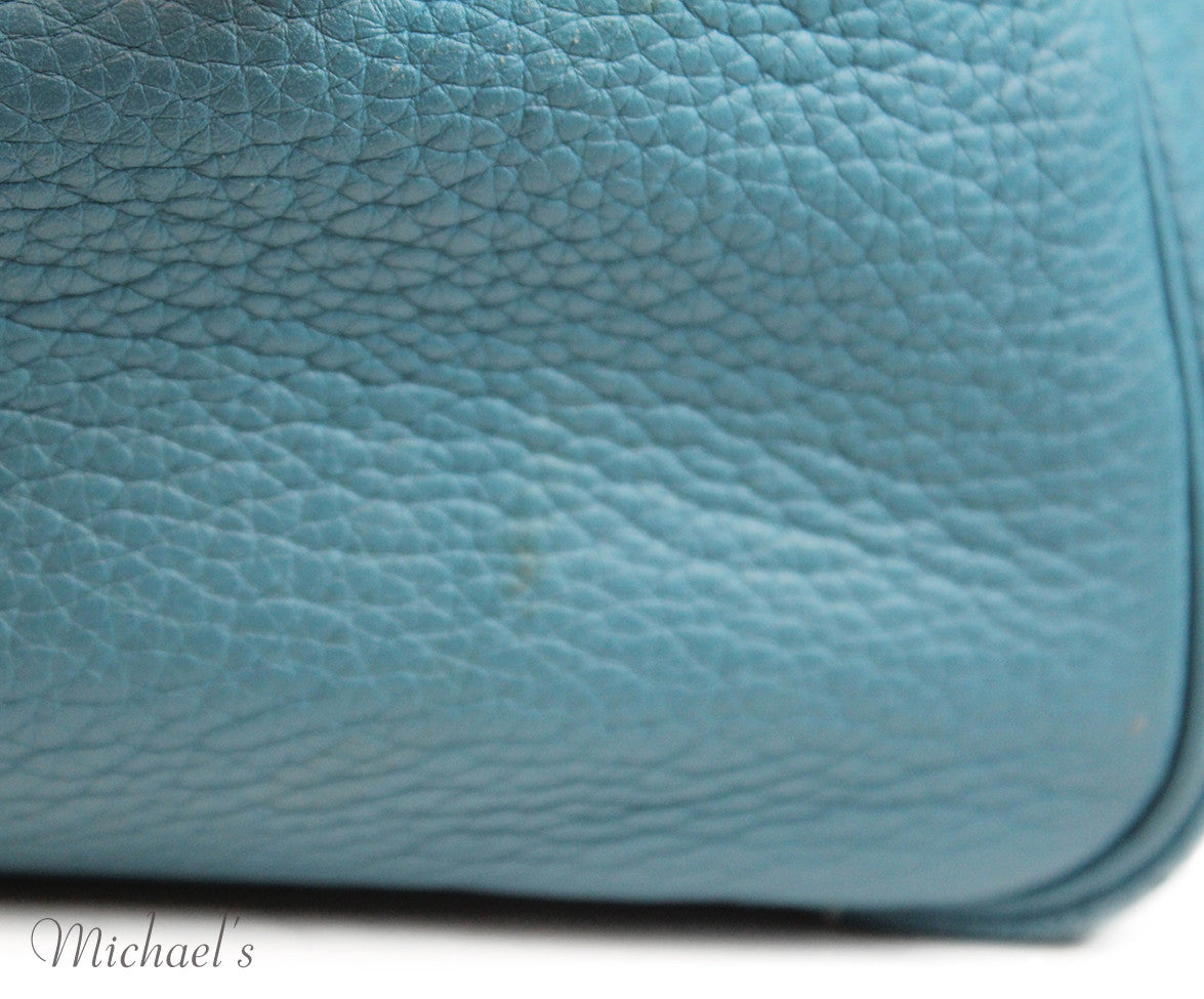 Hermes 30cm Light Blue Grained Leather Bag - Michael's Consignment NYC  - 7