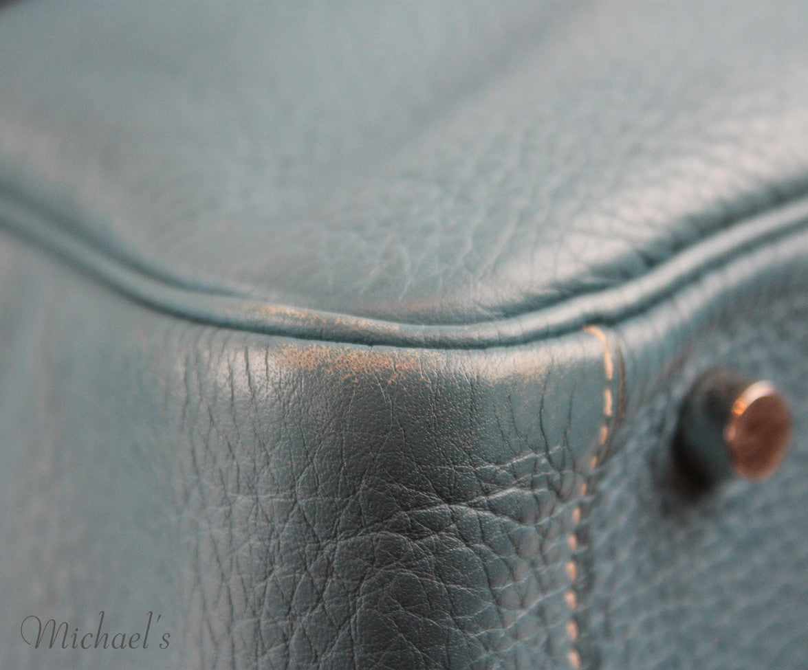 Hermes 30cm Light Blue Grained Leather Bag - Michael's Consignment NYC  - 8