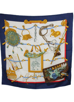 "Hermes White Navy Gold Silk Red ""as is"" Scarf 2"